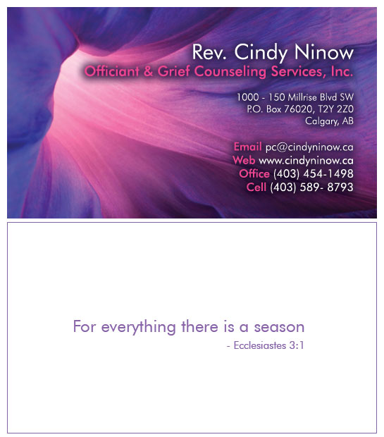 CindyNinow.ca - Business cards